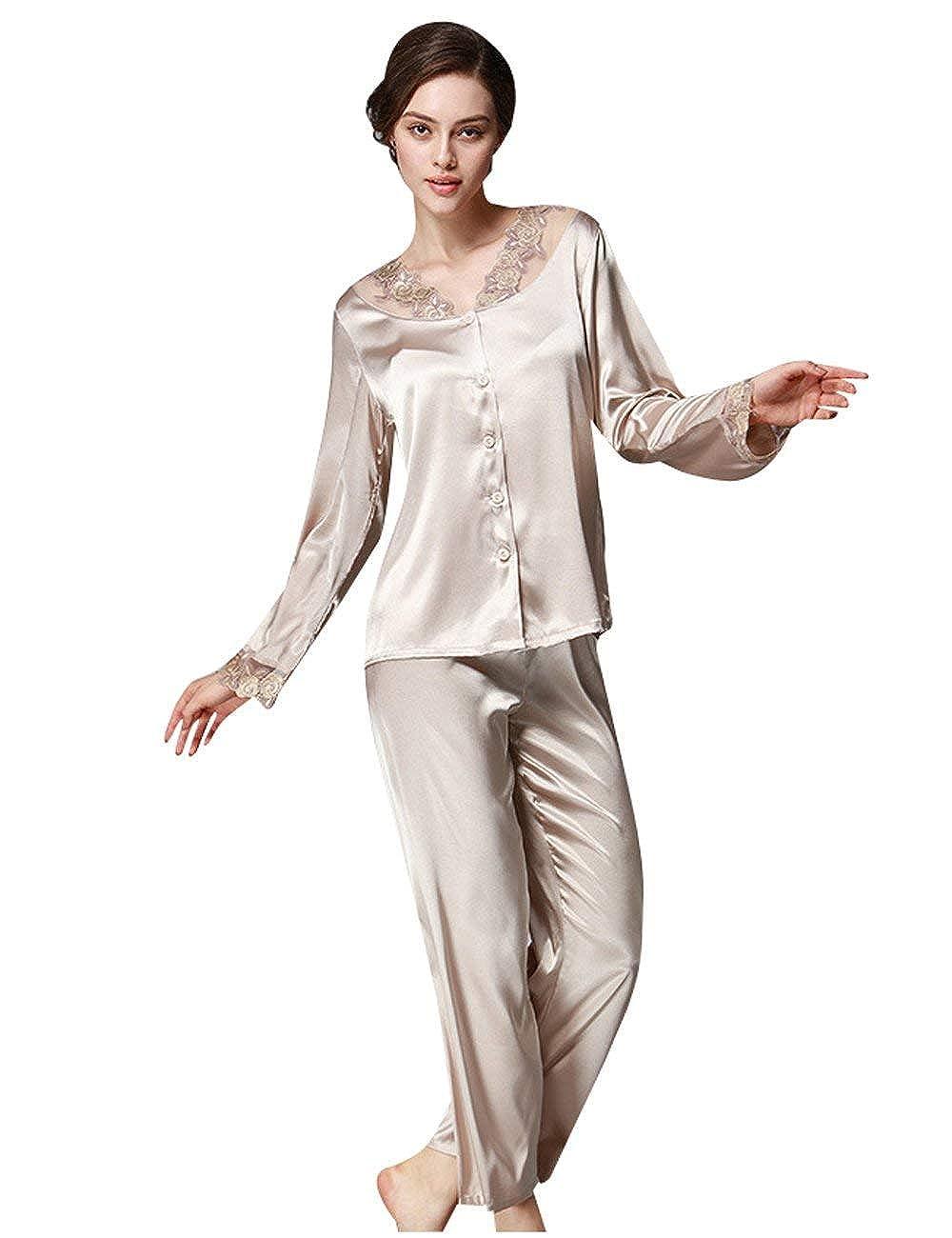 Donna Vestaglia Elegante Moda alla Moda Set Pigiama Tops Set Moda da  Pigiama Pantalone Primaverile Due b33c980d2ce