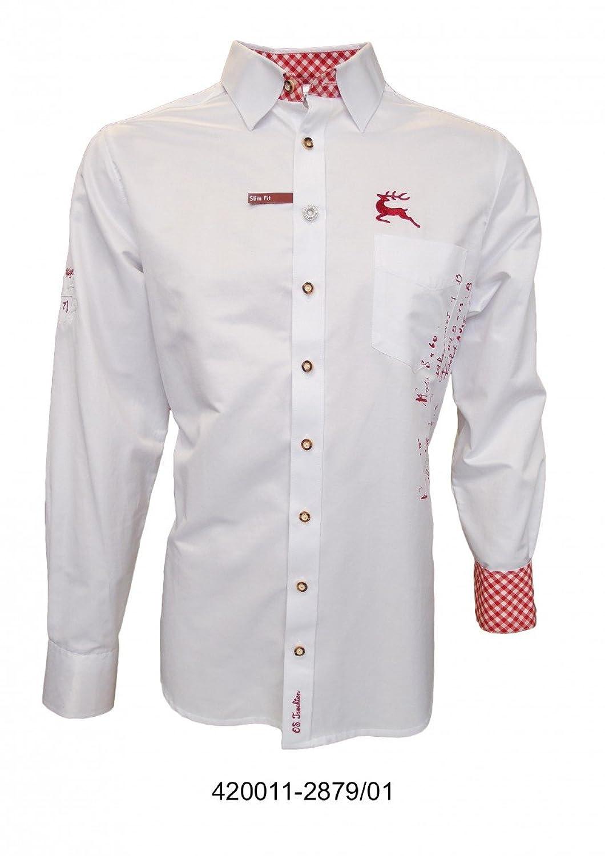 Slim Fit Trachtenhemd für Lederhosen mit Stickerei weiß