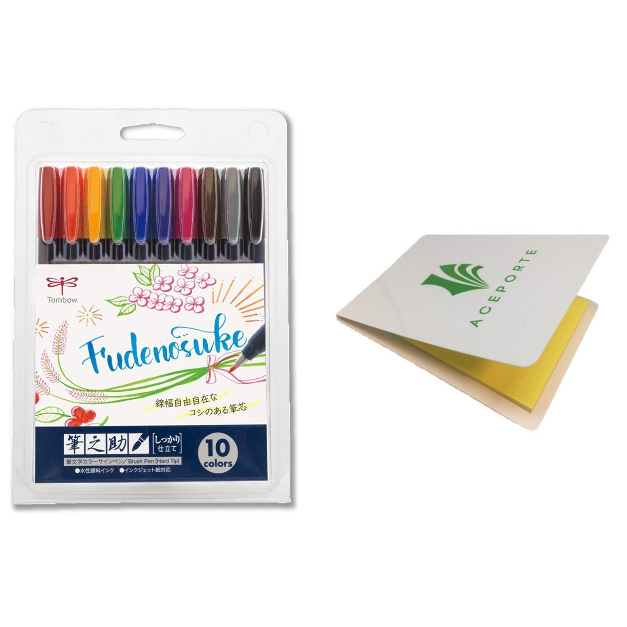 Tombow Fudenosuke Colors Set 10-Pack, WS-BH10C (Japanese Version) with Original Sticky Notes. Hard Tip Fudenosuke Fude Brush Pens in Assorted Colors for Calligraphy and Art Drawings