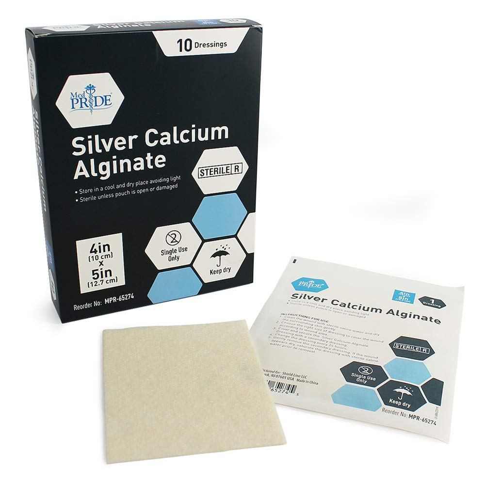 """Medpride Silver Calcium Alginate Wound Dressing Pads  4"""" x 5"""" Patches, 10-Pack  Antimicrobial, Non-Stick Padding, Sterile, Highly Absorbent & Comfortable """