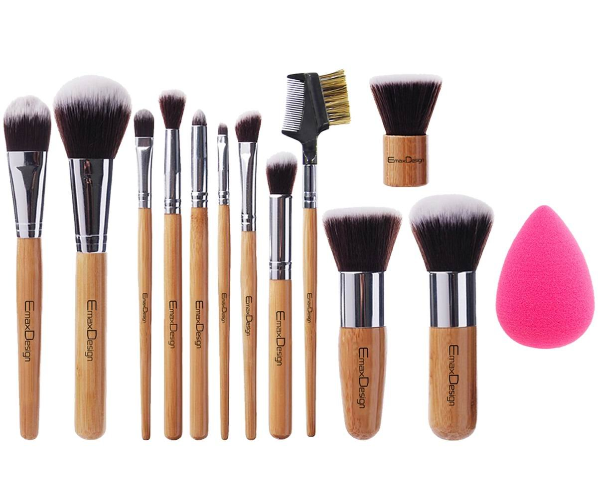 EmaxDesign 12+1 Pieces Makeup Brush Set, 12 Pieces Professional Bamboo Handle Foundation Blending Blush Eye Face Liquid Powder Cream Cosmetics Brushes & 1 Piece Rose Red Beauty Sponge Blender