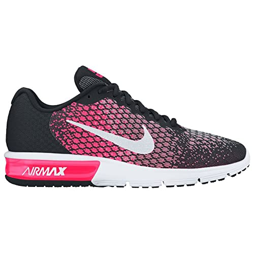 Nike Womens Air Max Sequent 2 Running Shoes Black White Racer Pink 852465-004 Size 9.5