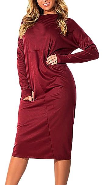 Mujeres Vestidos Largos Elegante Manga Largos Cuello Redondo Vestido Informales Tallas Grandes Colores Sólidos Otoño Invierno