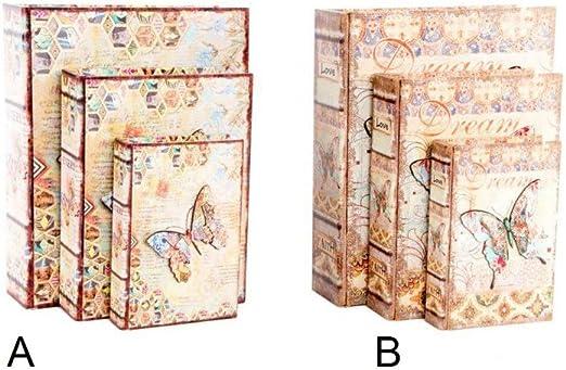 Home Line Caja de Madera con Forma de Libro - Modelo Mariposas ...