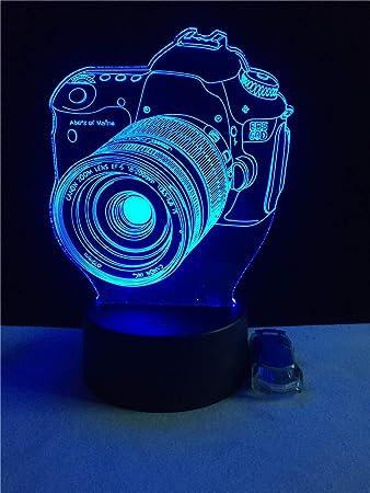 Forma de la cámara Ilusión 3D Luz nocturna Colores de USB Cambiar ...
