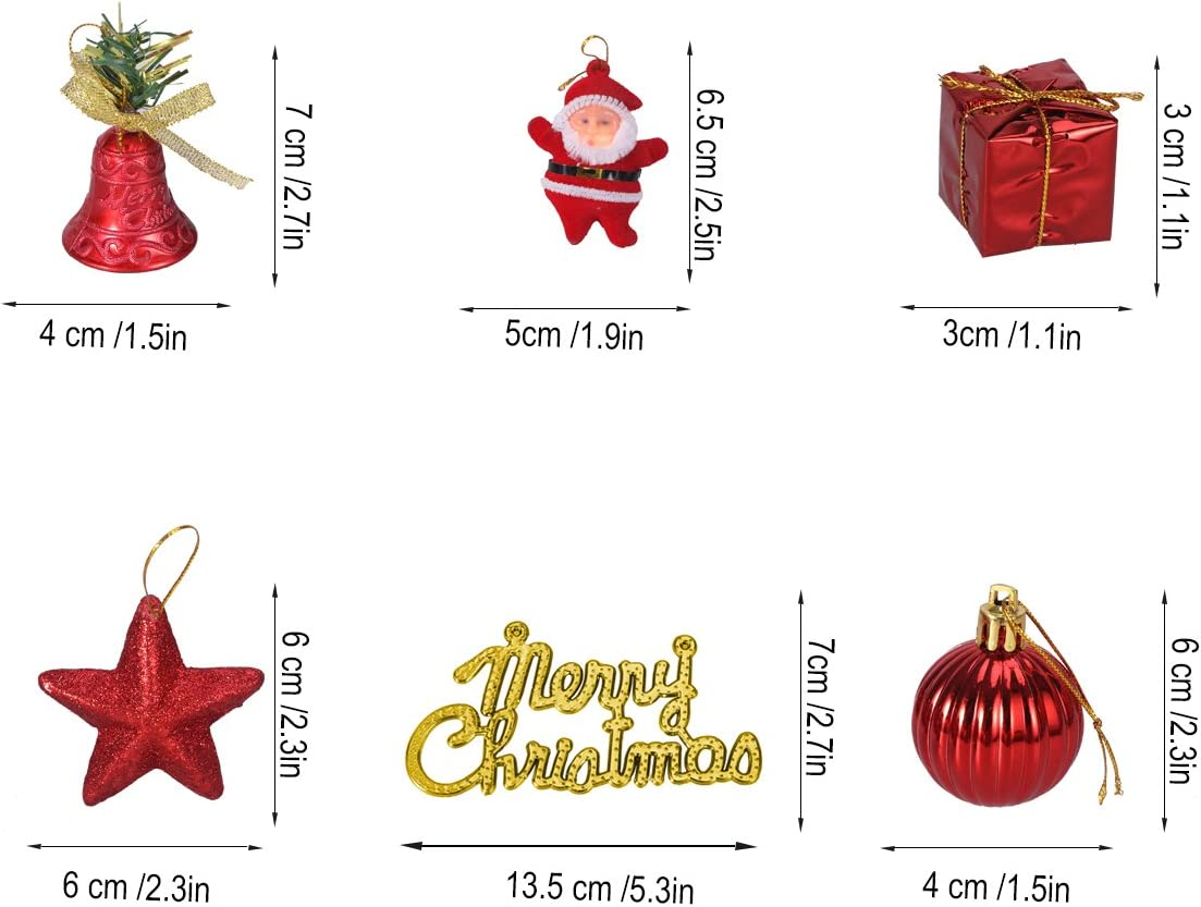 BESTOYARD Christmas Tree Ornaments Glitter Mini Jingle Bells Stars Balls Santa Gifts Boxes Merry Christmas Tag Hanging Decoration 28pcs Red