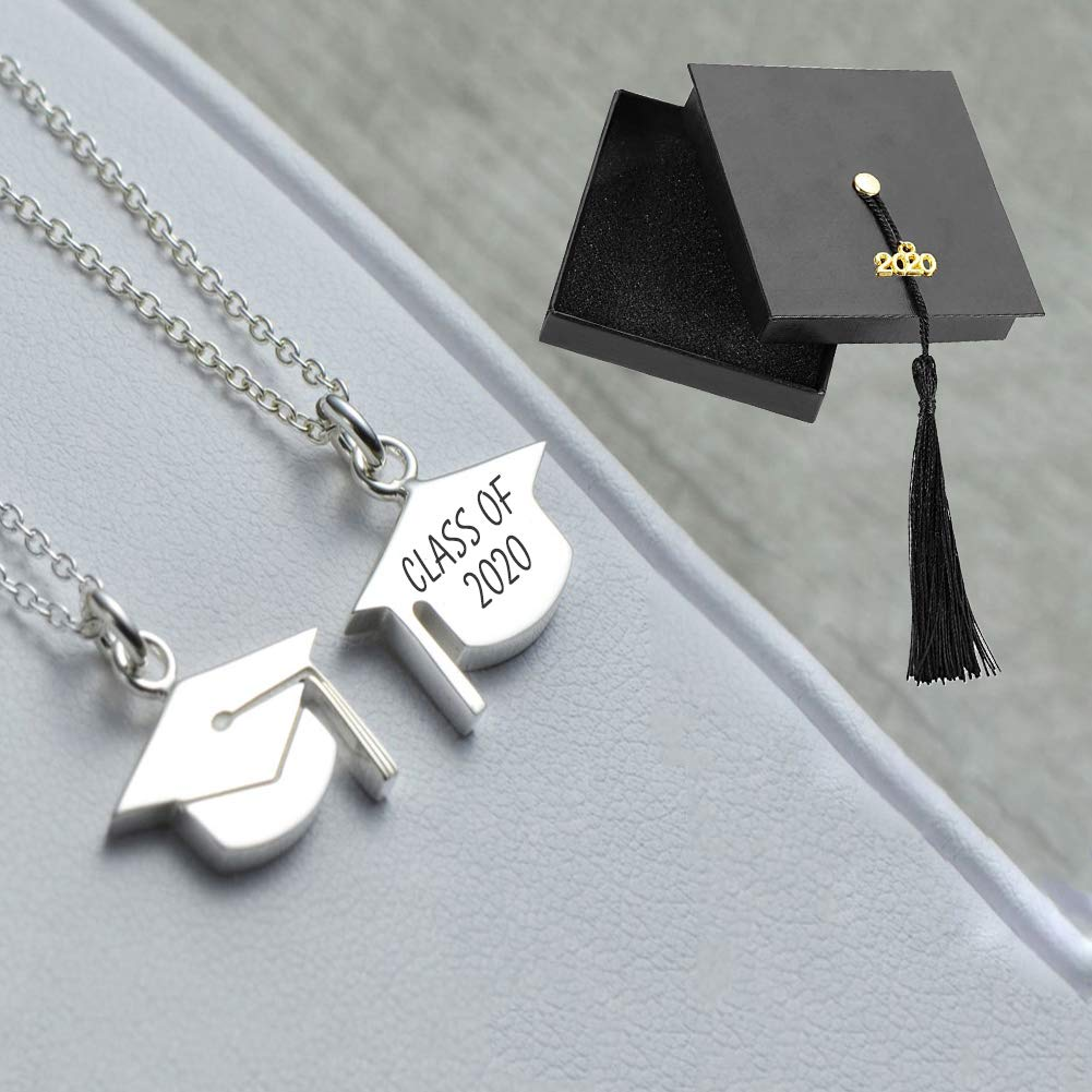 Amazon Com Graduation Gifts For Her 2020 Graduation Cap Necklace Personalized Engraved Necklace From Best Friend Inspirational Gift Jewelry For College High School Student Handmade