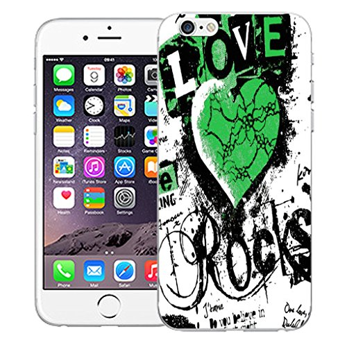 "Mobile Case Mate iPhone 6 4.7"" Silicone Coque couverture case cover Pare-chocs + STYLET - Love Rocks Green pattern (SILICON)"