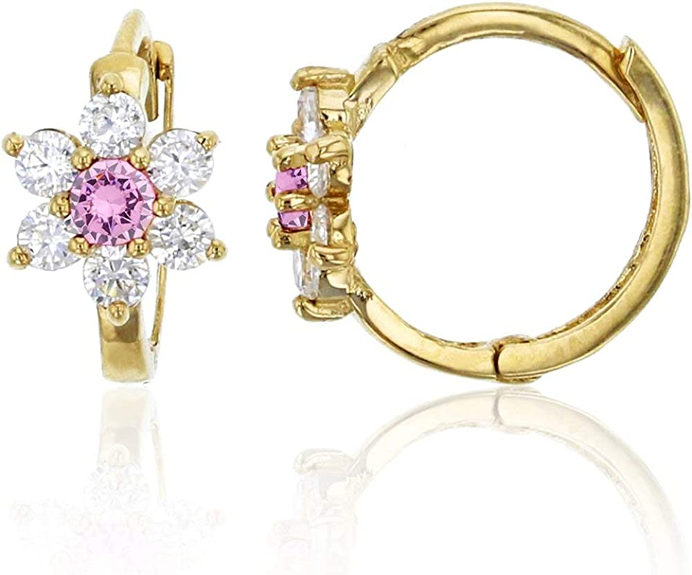 14K Yellow Solid Gold 6.5mm Daisy Flower AAA Cubic Zirconia Huggie Earrings | In Emerald, Pink, Red, Sapphire and Yellow | 6.50x10mm | Solid Gold Huggie Earrings for Women and Girls