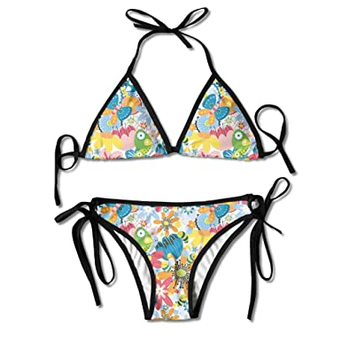 3954042883b5f Amazon.com  Flowers and Butterfly Bikini Halter Swimsuit Strappy ...
