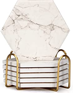 6 Pcs Hexagon White Marble Coaster Set with Holder Absorbent Drink Coasters Modern Ceramic Coasters Beverage Stone Table Coasters