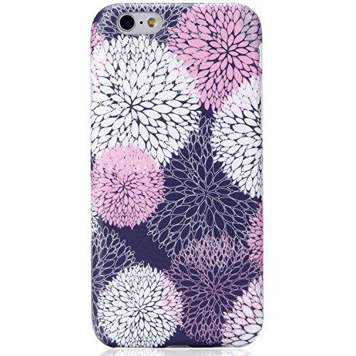 VIVIBIN iPhone 6 Case,iPhone 6s Case,Cute Pin White Purple Florals for Women Girls Clear Bumper Best Protective Soft Silicone Rubber Matte TPU Cover Slim Fit Best Phone Case for iPhone 6/iPhone 6s