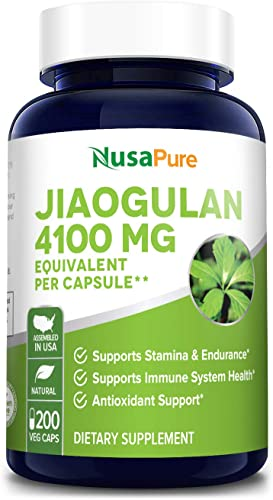 Jiaogulan 4100mg Per Caps 200 Veggie Capsule Extract 10 1, Non-GMO Gluten Free Gynostemma Pentaphyllum AMPK Activator, Caffeine-Free Adaptogen Pills, Ginseng Root Powder Extract