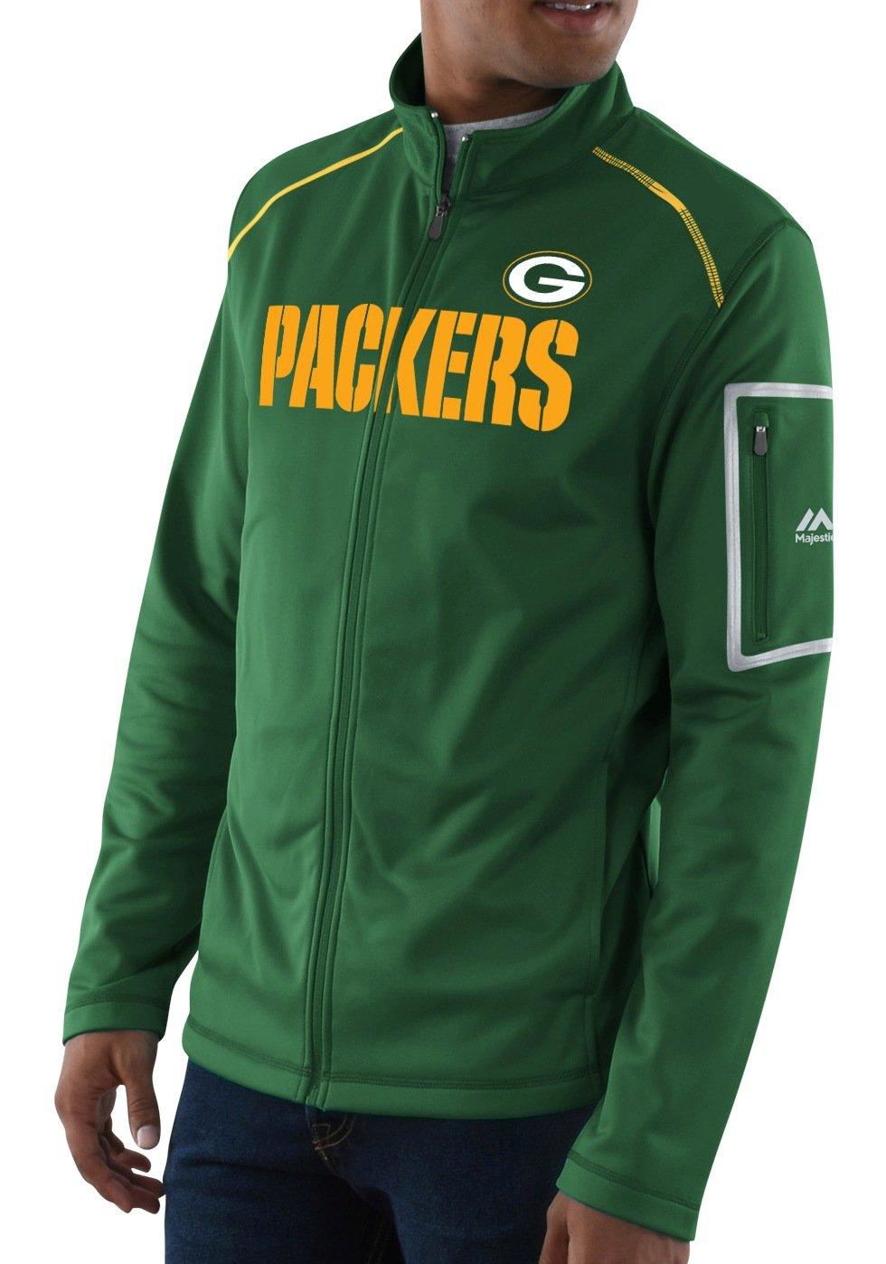 Green Bay Packers Majestic NFL「チームワーク」メンズFull Zip Mock Neck Sweatshirt XL  B072QTJFWX