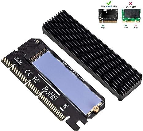 QNINE NVME Adaptador PCIe x16 con disipador térmico, M.2 Disco ...