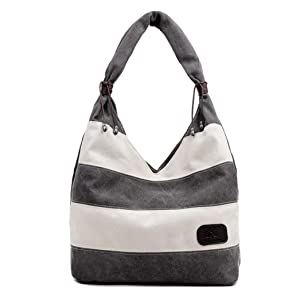 Gillberry Women Canvas Stripe Handbag Shoulder Bag Large Tote Ladies Purse (Gray)