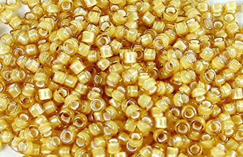 Toho Treasure Beads (11/0 TOHO Treasures Japanese Glass Seed Beads #948- Jonquil/White Lined 5g)