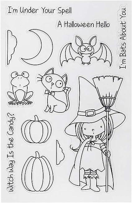 Nankod Transparente PVC Halloween Niedliche Hexe Stempel DIY Scrapbook Fotoalbum Dekoration