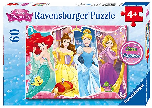 Ravensburger - Disney Princess Heartsong 60 Piece Glitter Jigsaw Puzzle for Kids – Every Piece is Unique, Pieces Fit Together ()