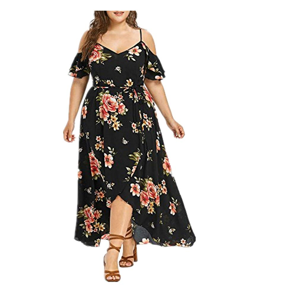 NREALY Falda Womens Plus Size Casual Short Sleeve Cold Shoulder Boho Flower Print Long Dress(XL, Black)