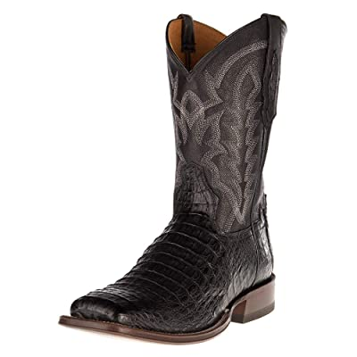 Tony Lama Boot Company Mens Horn Back Caiman Square Toe Cowboy Boot 9 Black | Western