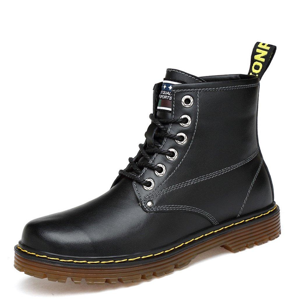 ZQ@QXEl otoño y el invierno ronda Martin botas botas de moda de Europa y de los Estados Unidos Martin botas, Negro y algodón, 46 46 Black plus cotton Black plus cotton