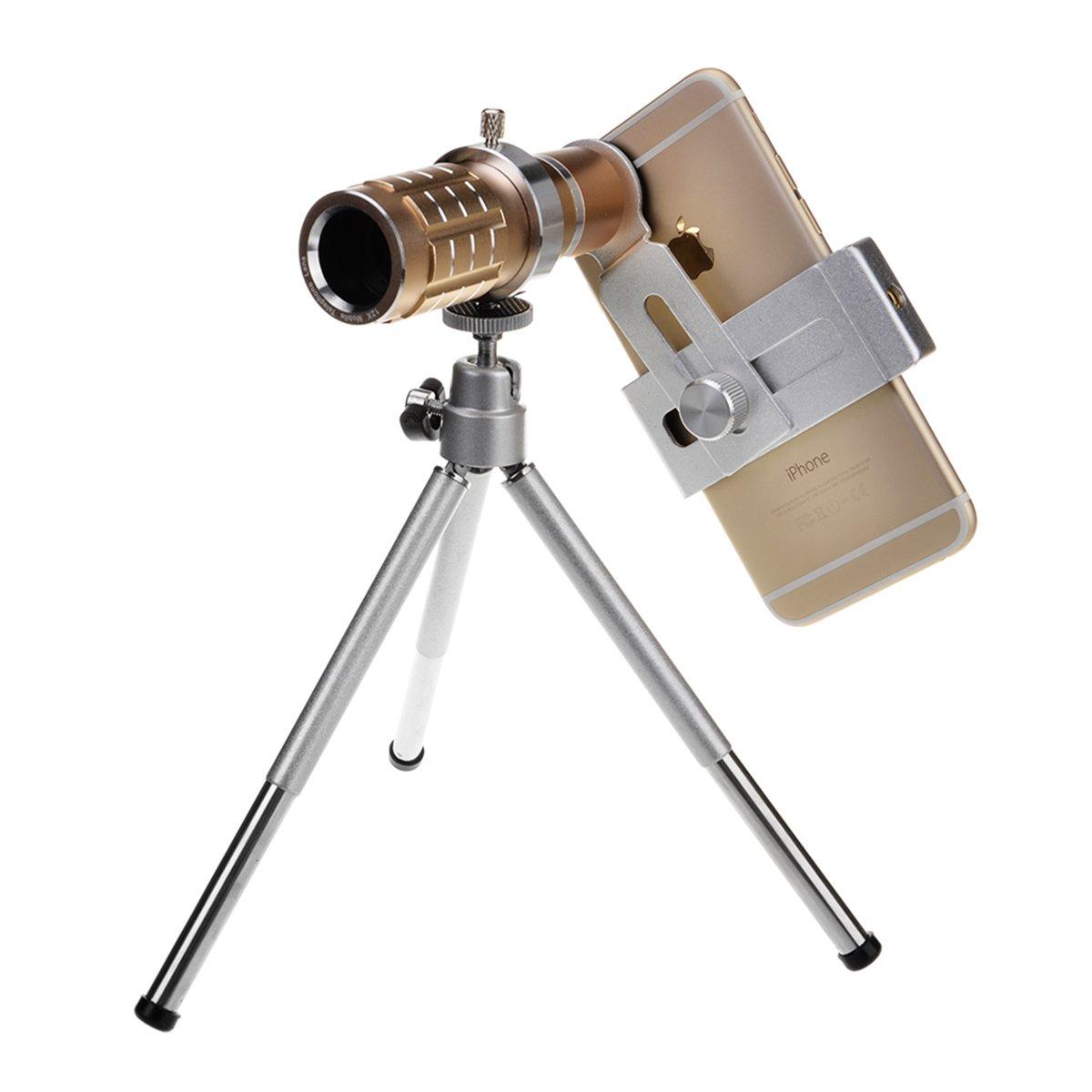 12X Universal Aluminum Optical Zoom with Mini Tripod Smartphone Metal Telescope Long Focus Lens -Glod