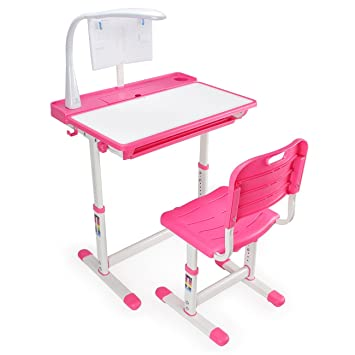Kidzone 40 Degree Tilt Adjustable Kids Desk | Lamp Included | Book Holder |  Pull Out