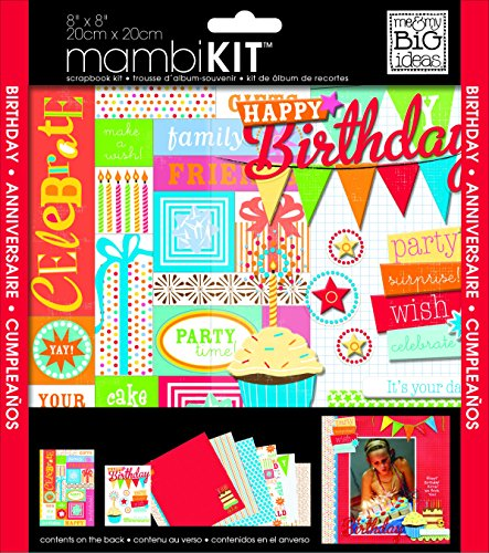 me & my BIG ideas Scrapbook Page Kit, Happy Birthday Party, 8-Inch by 8-Inch -