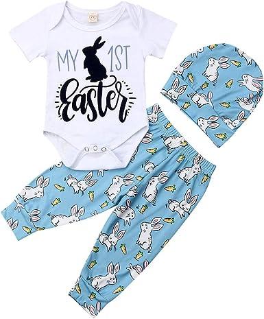 3Pcs//Set Newborn Infant Baby Girl Boy My 1st Easter Bodysuit Romper+Bunny Easter