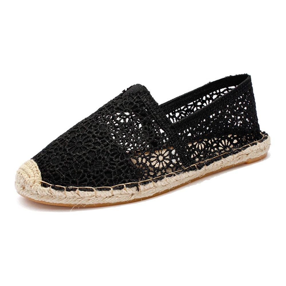 POUGNY Women's lace Casual Breathable bobs Flats shoes-BLACK39