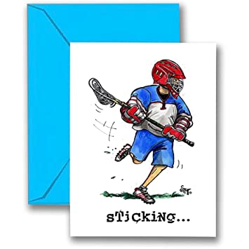 Amazon lacrosse birthday card 5x7 play strong sports lacrosse birthday card 5x7 play strong sports birthday greeting cards awesome for players m4hsunfo
