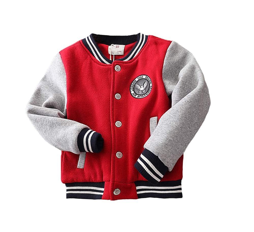 Abalacoco Boys Winter Coat Thicker Jacket Casual Cotton Winter Outwear Coat Baseball Wear 4-10T