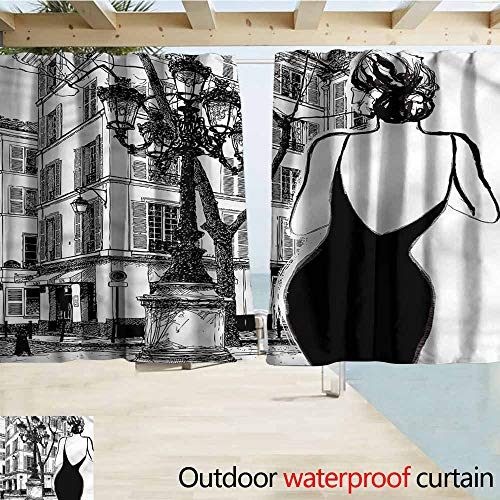 Rod Pocket Top Blackout Curtains/Drapes Paris Young Woman in Black Dress Room Darkening, Noise Reducing W55x72L Inches