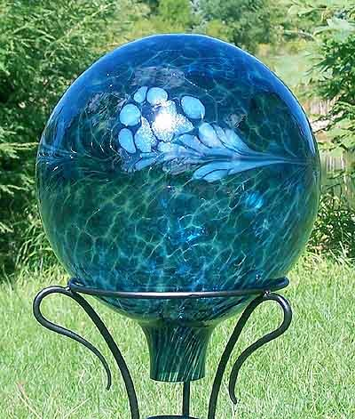 Glass Gazing Ball Quot Sea Green Quot 12 Inch By Iron Art Glass