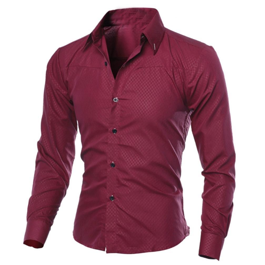 Realdo Mens Dress Shirt, Business Casual Turn-Down Collar Plaid Button Down Top