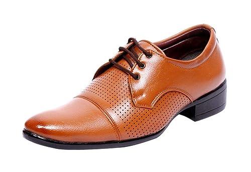 OORA Men s Tan Color Party   Office Wear Formal Dress Derby Shoes for Men -  Size 2c195db8244