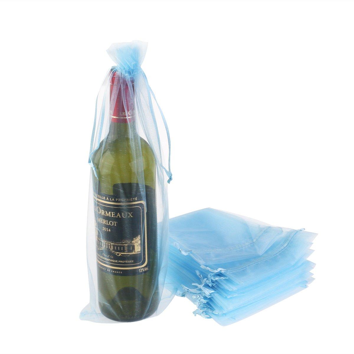 LUOEM Borse Porta Vino Borse Portabottiglie Sacchetti da Regalo Organza Azzurro 37x15cm 20 Pezzi