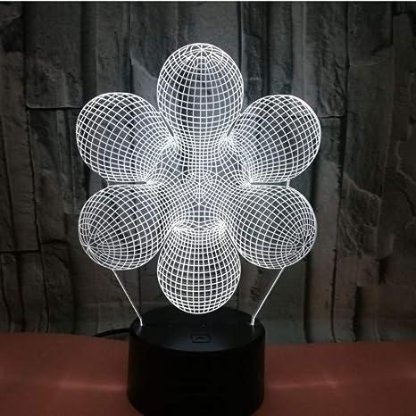 3D Ilusión óptica Lámpara LED Luz Resumen de noche Deco LED ...