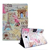 Funyye Magnetic Closure Case for Galaxy Tab E 9.6 SM-T5601,Stylish Eiffel Tower Design Ultra Thin with Credit Card Holder Slots Soft PU Leather Case for Samsung Galaxy Tab E 9.6 SM-T560/SM-T561