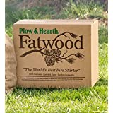 Plow & Hearth 50 LB Box Fatwood Fire Starter All Natural Organic Resin Rich Eco Friendly Kindling Sticks for Wood Stoves Fireplaces Campfires Fire Pits Burns Quickly and Easily Safe Non Toxic