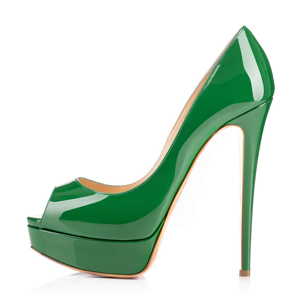 Caitlin Pan Womens Peep Toe Pumps Platform Stiletto Sandals High Heels Slip On Dress Pumps 5-14 US B07FCHJ56W 13 M US|Green/Red B0tt0m