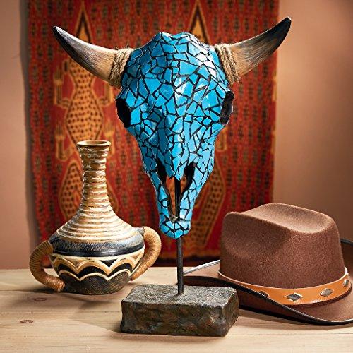 Design Toscano AL59134 Western Faux Turquoise Encrusted Cow Skull Statue Faux Turq. Cow Skull Statue