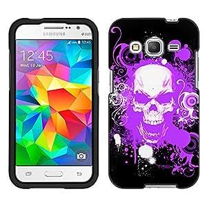 Samsung Galaxy Core Prime Case, Snap On Cover by Trek Purple Skull on Black Case