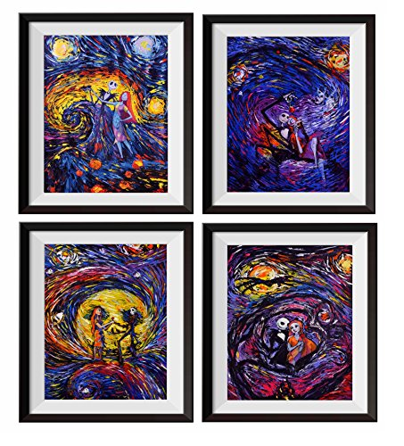 Uhomate 4 pcs Jack Sally Jack and Sally Nightmare Before Christmas Vincent Van Gogh Starry Night Posters Wall Art Baby Gift Wall Decor Bedroom Bathroom Artwork M038 (11X14) -