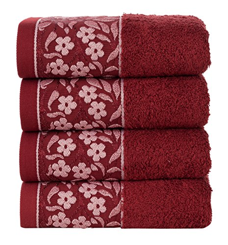 HYGGE Premium 100% Turkish Cotton Hand Towel with Floral Jacquard 19