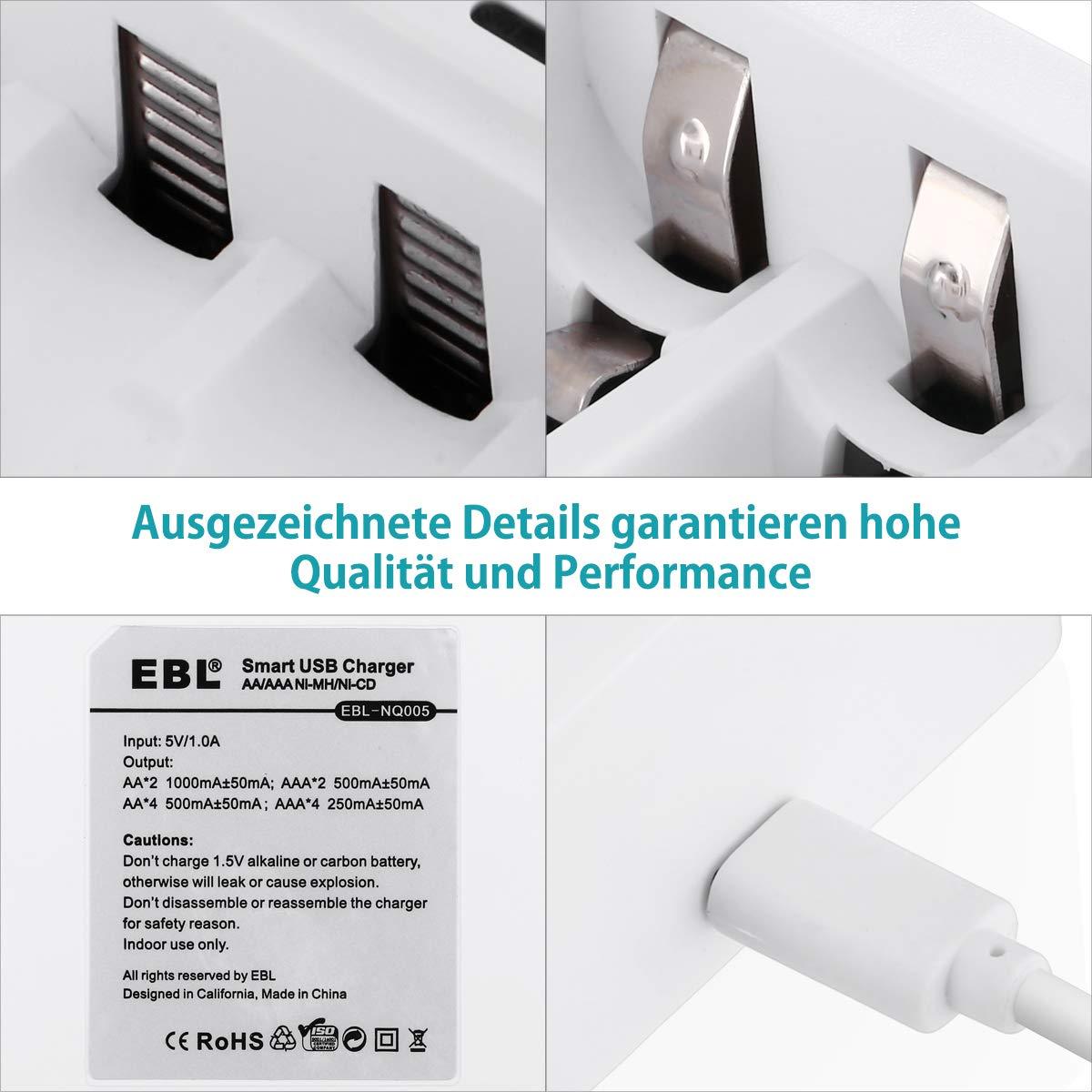 EBL AA AAA Intelligente Akku Ladegerät (4x Stecker) Batterieladegerät für Ni-MH Ni-CD Wiederaufladbare Akku Batterien mit LED-Anzeige