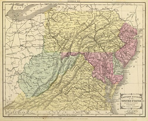 1864 School Atlas | Eastern division of the United States. Designed to accompany Cornell's High school geography. Drawn by E. Wells, N.Y. | Antique Vintage Map Reprint - Cornell 1864 Antique Map