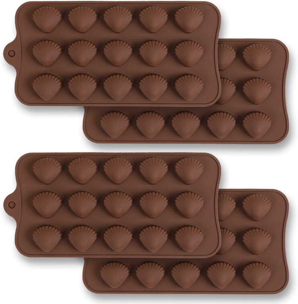 homEdge 15-Cavity Silicone Shell Chocolate Mold, 4 Packs Non Stick Food Grade Silicone Shell Shape Chocolate Candy Jelly Mold