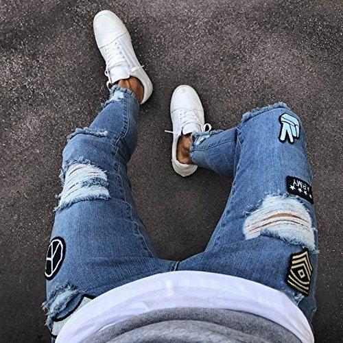 Automne Déchiré Cargo Bleu Jeans Straight Slim Serré Printemps Denim Pour Trou Skinny Cial Homme Moika Biker Pantalon x6qwYR64